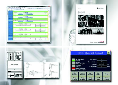 Screenshots from a new bundle of machine control tools from Rockwell Automation that offers an all-in-one solution for designers of machine control applications. The Connected Components Accelerator Toolkit includes an entire set of automation engineering design tools for machine control app development, the company said.   (Source: Rockwell Automation)