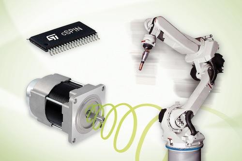 The cSPIN, STMicroelectronics' new single-chip motion controller, allows for the design of equipment such as robotics and industrial machines with quieter, smaller, and lighter precision movement and positioning systems, according to the company.   (Source: STMicroelectronics)