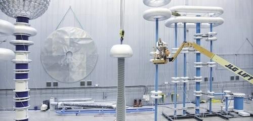 ABB engineers test high-voltage direct current at a company test site. The automation company has designed the first circuit breaker for HVDC, paving the way for uninterrupted power flow over longer distances. (Source: ABB)