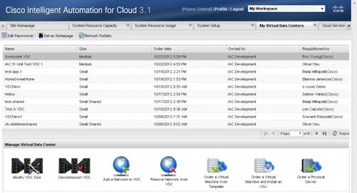 A new version of Cisco System's software for automating the management and security of data and assets in the cloud features a new virtual datacenter feature (shown) that allows a company's internal project teams or divisions to provision their own pool of cloud reasons exclusively for their use. This, and other features, help companies intelligently automate the protection of cloud assets, the company said.   (Source: Cisco Systems)