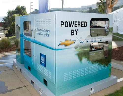 A module with five used Chevy Volt batteries could provide two hours of electricity to five average American homes. (Source: GM)