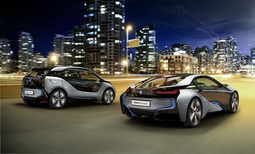 Family members: The i3 Concept Coupe joins two other vehicles in BMW's i sub-brand. The i8 plug-in hybrid (right) will reach production in 2014, and the five-door all-electric i3 EV will come out in 2013. (Source: BMW)