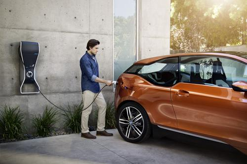 The concept car's battery charges in about three hours. With an optional DC fast-charge system available only at public charging stations, it can charge in less than an hour. (Source: BMW)
