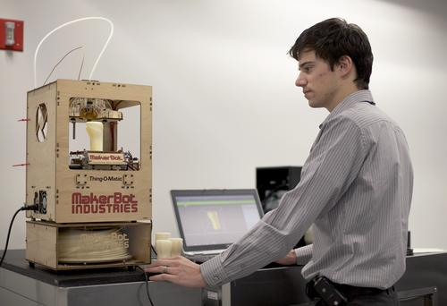 Ford engineers send CAD files between facilities, then build prototypes at workstations using MakerBot Thing-O-Matic 3D printers.  (Source: Ford Motor Co.)