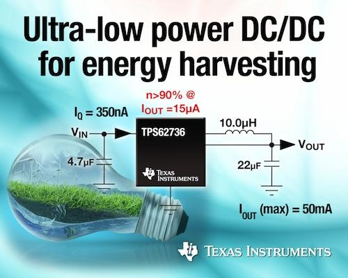 A graphic displays how Texas Instruments' new ultra-low-power converter harvests energy to help designers create more efficient electronics. The TPS62736 DC/DC step-down converter can be used to create battery-free applications such as wireless sensor networks, monitoring systems, smoke detectors, wearable medical devices, and mobile accessories. (Source: Texas Instruments)