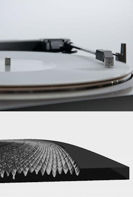 3D printed record and groove render.   (Source: Amanda Ghassaei)