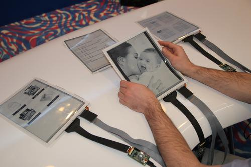 The PaperTab flexible tablet PC splits a tablet's windows into separate sheets of user-editable electronic paper that store a lot of data and communicate with one another. (Source: Human Media Lab, Queen's University)