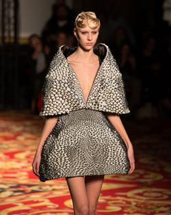 Fashion designer Iris van Herpen collaborated with Neri Oxman to create this cape and skirt that was 3D printed using Stratasys' Objet Connex.