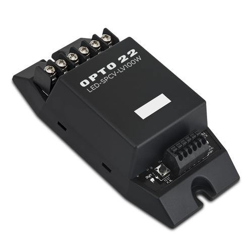 The new network LED Dimmer from Opto 22 uses pulse width modulation technology (PWM) to control brightness from 0-100 percent for 9-30 to control VDC constant voltage LED lighting assemblies such as lamps, bulbs, strips, ropes and bars. It can also be used for other resistive-type loads.   (Source: Opto 22)