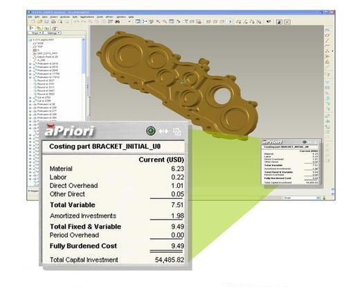 The aPriori Geometric Cost Drivers fit with most popular CAD software packages. This particular example shows the cost breakdown of the sample part.   (Source: aPriori)