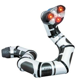 Though Roboboa is a toy, its abilities compare quite well with some of the other robots in this slideshow. Its movements seem at least as sophisticated as many of the more expensive R&D projects. Roboboa can rotate, swivel, spin, lift itself, and rove around. It has four motorized sections, an infrared sensor, a light-intensity sensor, an audio speaker, three tri-color LED eyes, and nine animation LEDs. In aware mode, the 15-inch (38.1cm), four-pound (1.81kg) remote-controlled robot can offer a number of responses to objects in front of it, such as flinching, following, or turning away. It can also act as an alarm clock or a flashlight, and it can communicate via light and sound patterns with other toys made by the same manufacturer. (Source: WowWee)