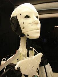 Through his InMoov project, French artist and designer Gael Langevin is working on a humanoid robot that can be printed with a 3D printer then assembled at home. So far he has completed the robot's head, arms, and hands, and is working on its torso.  (Source: Gael Langevin)