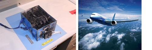 Boeing's batteries overheated and burned (left) onboard a 787 (right), but that shouldn't be an indictment of lithium-ion chemistries.  (Source: NTSB, left; Boeing, right)