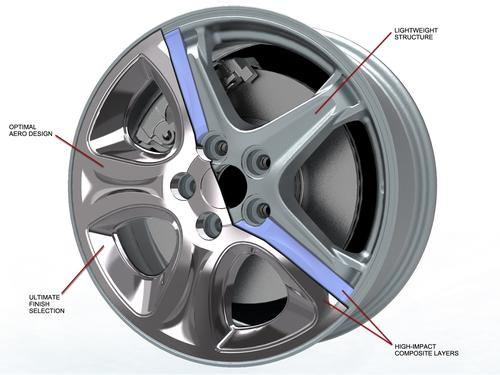 The eVOLVE Hybrid Wheel made of metal and plastic, designed for the 2012 MYFord Focus SE, has shown an increase of 1.1 MPG highway in third-party tests, compared to the car's standard production wheel.  (Source: Lacks Wheel Trim Systems)