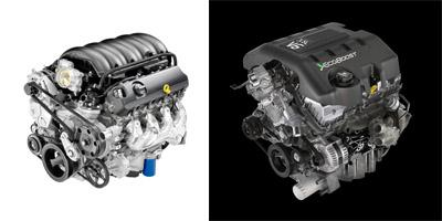 GM's new 5.3L V8 EcoTec engine, left, boosts fuel efficiency by using cylinder deactivation to act as a four-cylinder engine at light loads. Ford's 3.5L EcoBoost engine, right, boosts performance by using twin-turbocharger technology to create a more dense mix of air and fuel in each cylinder.  (Source: GMC, left; Ford Motor Co., right)