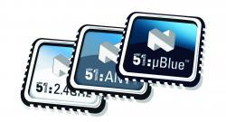 Electronics & Test: Wireless Components Nordic Semiconductor nRF51822 Bluetooth low energy and 2.4GHz proprietary SoC The nRF51822 is a multiprotocol Bluetooth low energy(BLE)/2.4GHz proprietary RF SoC. Its architecture includes low power radio and 32-bit ARM Cortex-M0 processor. Sensitivity is -92.5dB RX in BLE mode, link budget is improved by 9.5dBm, and the device exhibits sub-10mA peak- and microamp average-currents from a 3V coin cell.   The chip is the only ULP 2.4GHz SoC that can support concurrent and non-concurrent BLE (Bluetooth v4.0) and 2.4GHz proprietary operation. Legacy 2.4GHz proprietary- (e.g. wireless desktops) and BLE-applications can be supported with no additional development -- something that's impossible with any other 2.4GHz ULP RF technology. The key differentiation is that the nRF51822 separates application code and RF protocol stack. In competitive products, these software blocks have an associated inherent coupling; but in the case of the nRF51822, there are no dependencies between the silicon vendor-delivered stack and the application. In practice, the nRF51822 has two autonomous functional blocks: the developer's application and the self-contained BLE 'soft device' stack.