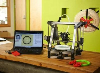 Lulzbot AO-101 3D printer in action, pulling plastic off a reel.   (Source: Aleph Objects)
