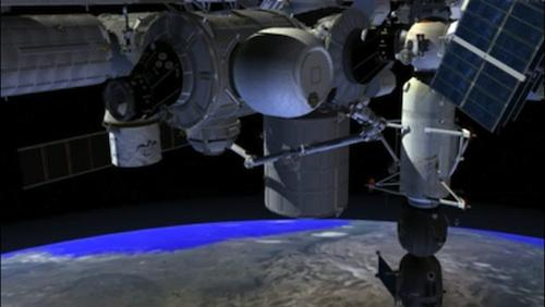 NASA has awarded Bigelow Aerospace a $17.8 million contract to deliver its Bigelow Expandable Activity Module (shown here connected to the ISS in a photo illustration) to the International Space Station for experimental use for two years upon its launch to the station in 2015. The move will serve mainly as a technology demonstration to see how a space module made of non-metallic material instead of aluminum will handle radiation and thermal transmissions in space.   (Source: Bigelow Aerospace)
