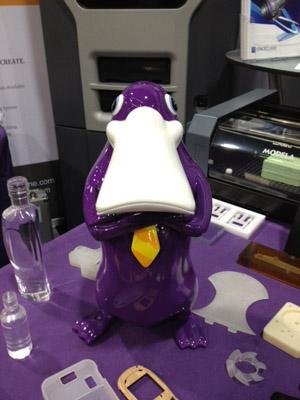 This 3D-printed platypus was printed with an Objet printer by Purple Platypus. It definitely made us stop and take a second look.