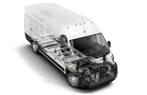 Ram's 2014 ProMaster commercial vehicle features a choice of engines: a standard 3.6-liter gasoline-burning V-6; or a 3.0-liter I-4 EcoDiesel. The inline four-cylinder EcoDiesel offers peak torque of 295 lb-ft at just 1,400 rpm.   (Source: Ram)