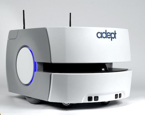 Adept's new Lynx mobile robot, a self-navigating AIV, is designed to move material from point to point in environments that may include confined passageways and dynamic and peopled locations. The Lynx system supports payloads of up to 60kg, utilizes digital maps for localization,and manages power and self-charging operations.(Source: Adept Technology)