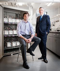 David Bradwell (left) and Donald Sadoway are co-founders of Ambri, a Cambridge, Mass.-based startup that is developing a liquid-based battery they hope will be the foundation for the next-generation electricity grid.   (Source: MIT)