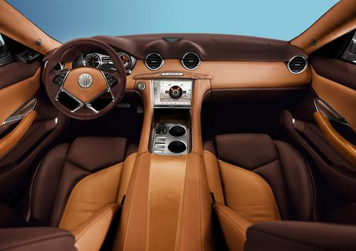 The 2012 Karma's front center console uses three types of interior wood trim 'reclaimed from California forest fires and windstorms and raised off Michigan lake bottoms.'   (Source: Fisker Automotive)