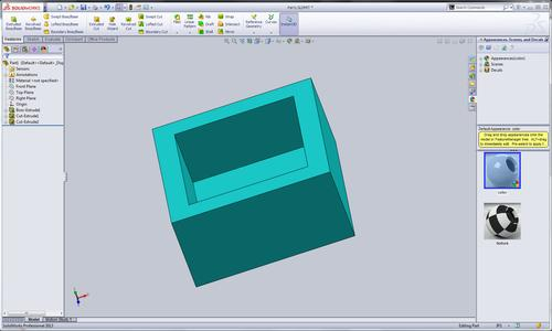 I drew a simple pocketed box in SolidWorks 2013. This could act as an enclosure, tray, etc. This particular part could be 3D printed with ease.
