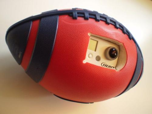 The BallCam is capable of editing out the spinning of the football and providing a usable image.   (Source: Carnegie Mellon Robotics Institute)