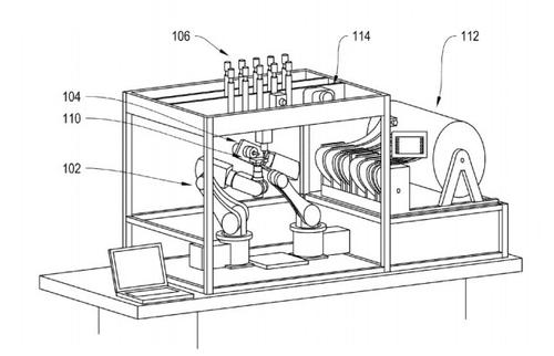 This iRobot device patent concept of a 3D printer that finishes parts suggestsa truly all-in-one machine devoid of human interaction.(Source: iRobot & USTPO)
