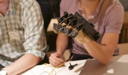 The Tactilus is a haptic feedback glove for interacting with 3D environments. A series of cables can apply pressure to the wearer's fingers to resist their motion in response to pushing against a virtual object.