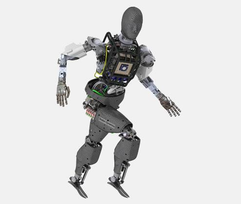Atlas, a humanoid robot from Boston Dynamics based on its Atlas robot platform, has seven degrees of freedom in each arm, six degrees of freedom in each leg, and a sensor head with stereo vision and laser radar. It is being designed specifically for meeting the demands of the challenge.(Source: Boston Dynamics)