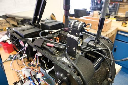A Foster-Miller robot platform under repair.   (Source: Dave Bullock)