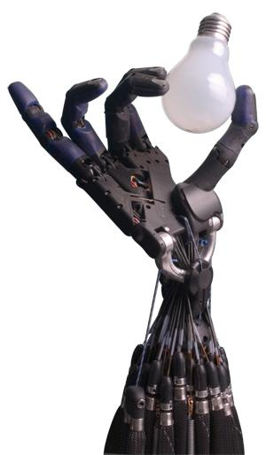With 20 degrees of freedom (DOF), fingertip touch sensors, and multiple force and position sensors, Shadow Robot's Dexterous Hand is one of the most sophisticated and human-like. In addition to the 20 actuated DOF, the hand also has four under-actuated movements. Each joint has position sensors and each actuator has force sensors. The Dexterous Hand also contains sensors for detecting temperature, motor current, and voltage. The range of movements of each of the 24 joints is very similar to a human hand's, including the idosyncratic movements of the thumb's articulation and how the palm flexes to control the little finger. The palm also contains a control board for add-on capabilities. A total of 129 sensors provide data or manipulation control via a high-bandwidth EtherCAT interface. The Hand runs the open-source Robot Operating System (ROS).   (Source: Shadow Robot)