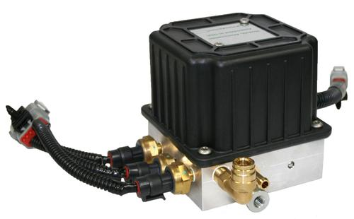 This diesel engine emission control module manages fuel, air atomization, and air purge functions. Integrated into this assembly are two solenoid valves, two pressure regulators, three pressure transducers, a fuel injector, and precision orifice. The compact design and simplified mounting provide a distinct advantage over having to connect and mount individual components on a truck chassis.