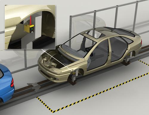 A wireless photoelectric sensor used in conjunction with a tower light can increase automotive production line efficiency by immediately notifying technicians.