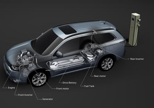 Mitsubishi's Outlander PHEV employs a 12 kWh battery with 80 lithium-ion cells. An Outlander PHEV designed for the Japanese market had an overheating incident that melted cells and part of the battery pack.   (Source: Mitsubishi Motors)