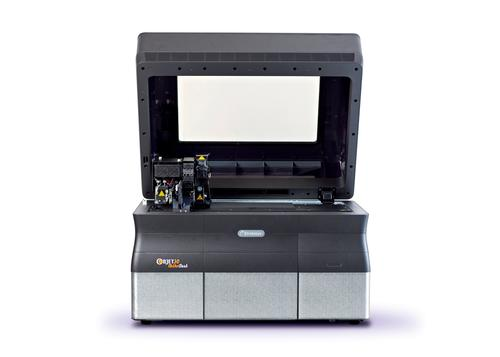 The Objet30 OrthoDesk dental printer measures 82.5 x 62 x 59 cm (32.28 x 24.4 x 23.22 inch), and fits on a desktop or printer stand.   (Source: Stratasys)