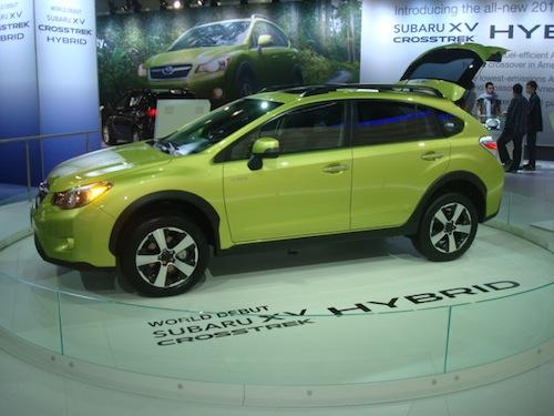 The 2014 Subaru XV Crosstrek Hybrid made its world debut at the show. This is Subaru's first green car and is a gas-electric hybrid that can run on only electricity when it is driven at low speeds.