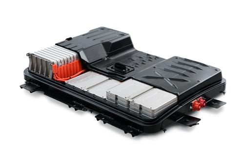 The Leaf's 480-lb battery pack is made up of 48 stackable lithium-ion modules.   (Source:  Nissan)