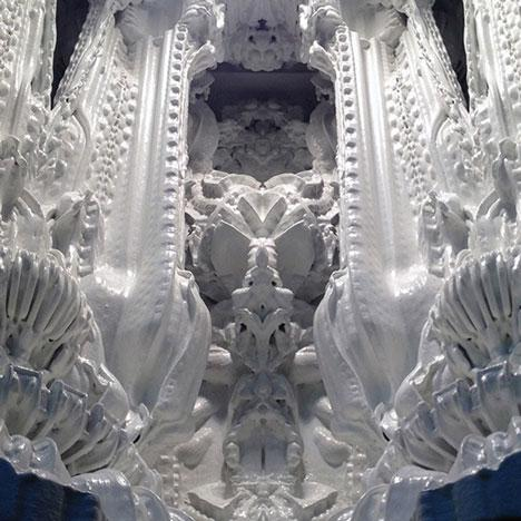 Architects Michael Hansmeyer and Benjamin Dillenburger have revealed a prototype for the world's first 3D-printed room. Named Digital Grotesque, the full-scale ornate room by Michael Hansmeyer and Benjamin Dillenburger will have 80 million surfaces rendered in smooth sandstone, with certain parts glazed and gilded. A 1:3 scale prototype of the room was shown at the Swiss Arts Awards 2013 in Basel and at the Materializing Exhibition in Tokyo in June.   (Source: dezeen.com/Hansmeyer & Dillenburger)