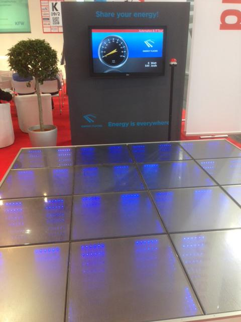 The Energy Floor, also known as a sustainable dance floor, contains modules that flex slightly when stepped on. This creates a movement that can be transformed into electric power by a small internal generator. Each module, measuring 75 cm x 75 cm, can produce up to 35W of sustained output.