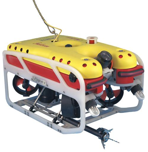 Saab's Seaeye Falcon DR remotely operated vehicle (ROV) is used in a wide variety of applications, including oil & gas exploration, scientific exploration and data-gathering, and environmental monitoring. Its depth rating is 1,000 m (3,280 ft), and its maximum tether length is 1,100 m (3,608.9 ft) with a 14 mm (0.55 inch) diameter umbilical, although longer options can be achieved with custom umbilicals. It runs on a single-phase, universal auto-sensing, self-selecting input of 100-270V AC at 2.8 kW. The polypropylene chassis, measuring 635 mm x 600 mm x 1,055 mm (25 inch x 23.6 inch x 41.5 inch) is robust and lightweight for buoyancy and lack of corrosion. The robot's launch weight is 100 kg (220.5 lb), payload is up to 15 kg (33 lb), and top speed is more than 3 knots. 6,400 lumens of LED lights with variable density can be tilted to vary intensity, linked to the video camera's 180-degree tilting mechanism. Data and video are transmitted via F2 fiber optics. Powered by five magnetically coupled thruster units with a combined forward thrust of 50 kgf, the Seaeye Falcon DR has a 1:1 power to weight ratio. Standard sensors include auto depth and heading, pitch and roll, and compass.   (Source: Saab)