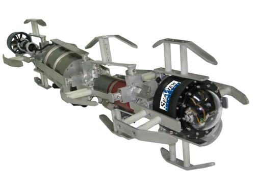 The Serpent remotely operated vehicle (ROV) from Seaview Systems is designed for exploring very small-diameter pipelines. It can investigate conduits as small as 9 inches (23 cm) in diameter, and fit around bends with a radius as narrow as 27 inches (68.5 cm). Measuring 9 inch x 9 inch x 57 inch (23 cm x 23 cm x 145 cm) and weighing 70 lb (32 kg), the Serpent runs on two 300W brushless DC motors that give it a total forward thrust of 18 lb (8 kg). With a 0.5 inch (1.3 cm) diameter fiber-optic tether, it can explore as far as 6,000 ft (1,830 m) down a pipe or tunnel. A 360-degree pan/orbit/zoom color camera and two color cameras are included, along with two 70W high-intensity LEDs. The robot also has heading, pitch and roll, and depth sensors, as well as sonar. A fiber-optic telemetry system provides up to three video channels, four RS232 channels, and two RS485 channels.   (Source: Seaview Systems)