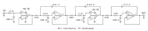 Circuit diagram for a 7th-order low-pass filter with fc = 1500 Hz.