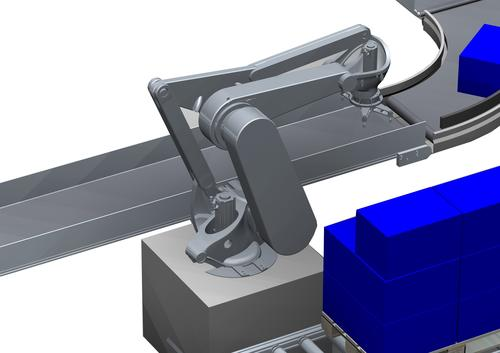 Palletizers use a parallelogram-type robot with reinforced construction and sufficient arm length. Motions are synchronized with the help of the belt conveyor. Motion profiles of the robot kinematics can be pre-defined, calculated in terms of axial movements and controlled by the 3200C controller paired with the i700 servo drive.