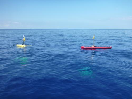 Liquid Robotics' new Wave Glider robot, the SV3 (right, in red) is bigger than its predecessor, SV2 (left, in yellow), shown during sea trials in Hawaii. The SV3 uses stored solar energy for part of its propulsion system, combined with the Wave Glider's unique, wave-powered energy harvesting system.   (Source: Liquid Robotics)