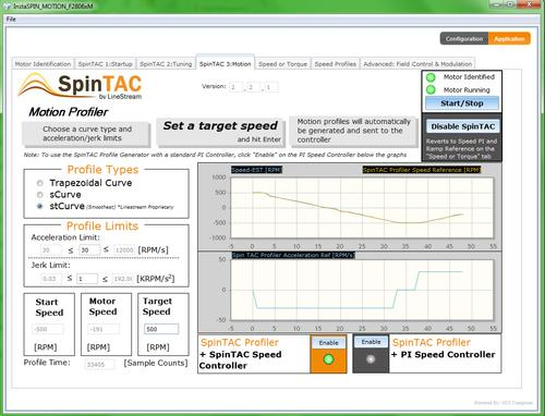 Texas Instruments' new InstaSPIN-MOTION software, shown here in a screenshot, aims to make motion-control development more efficient and less painstaking for developers, the company said. The software builds on TI's InstaSPIN-FOC offering and adds four new modules with advanced features.   (Source: Texas Instruments)