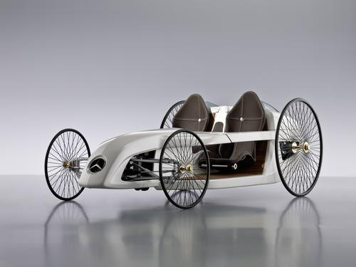 Introduced in 2009, the Mercedes-Benz F-Cell Roadster concept car mimics the Benz Patent Motor Car from 1886. Fitted with spoked wheels, carbon fiber bucket seats, and a hydrogen fuel cell drive, the car was the product of 150 students and Daimler AG trainees tasked with designing an alternative fuel vehicle. The F-Cell Roadster is controlled by drive-by-wire technology and employs a joystick instead of a conventional steering wheel.(Source: Mercedes-Benz)
