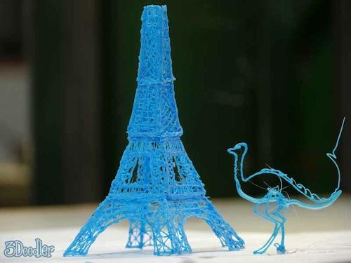 The possibilities are endless with the 3Doodler pen. Online print-outs are available for more complicated projects like the Eiffel Tower.   (Source: 3Doodler)